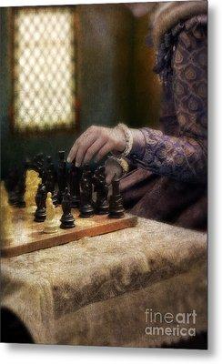 Renaissance Lady Playing Chess Metal Print by Jill Battaglia