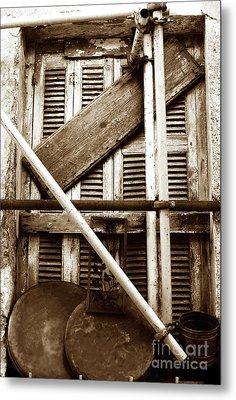 Repair In Athens Metal Print by John Rizzuto
