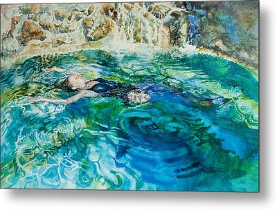 Repose In A Pool In France Metal Print by Gilly Marklew