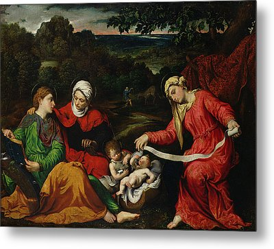 Rest On The Flight Into Egypt Metal Print by Paris Bordone