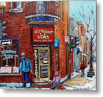 Restaurant John Montreal Metal Print by Carole Spandau