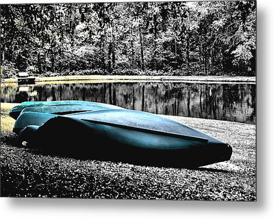 Resting Canoes Metal Print by Greg Sharpe