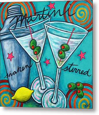 Retro Martini Metal Print by Lisa  Lorenz