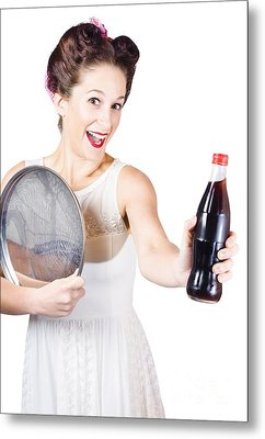 Retro Pin-up Girl Giving Bottle Of Soft Drink Metal Print by Jorgo Photography - Wall Art Gallery