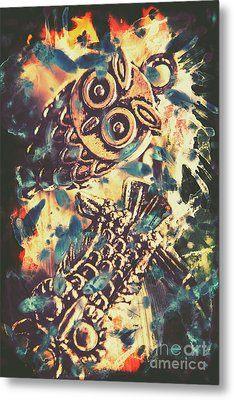 Retro Pop Art Owls Under Floating Feathers Metal Print by Jorgo Photography - Wall Art Gallery
