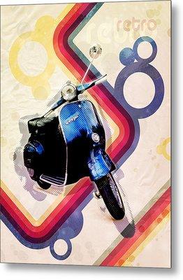 Retro Vespa Scooter Metal Print by Michael Tompsett