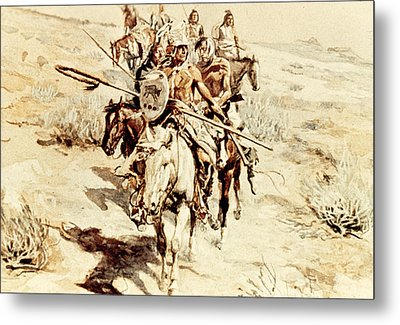 Return Of The Warriors Metal Print by Charles Marion Russell