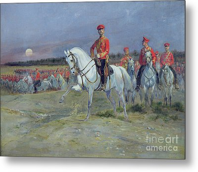 Reviewing The Troops Metal Print by Jean Baptiste Edouard Detaille