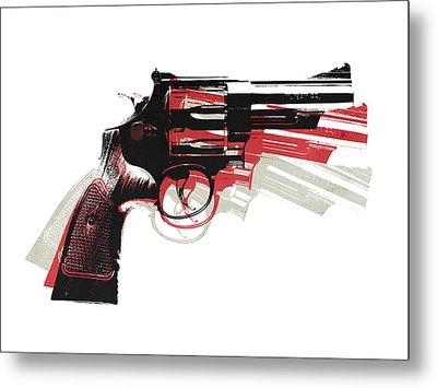 Revolver On White - Right Facing Metal Print by Michael Tompsett