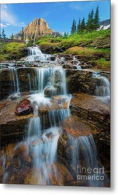 Reynolds Mountain Waterfall Metal Print by Inge Johnsson