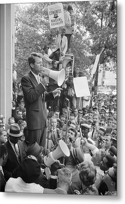 Rfk Speaking At Core Rally Metal Print by War Is Hell Store