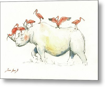 Rhino And Ibis Metal Print by Juan Bosco