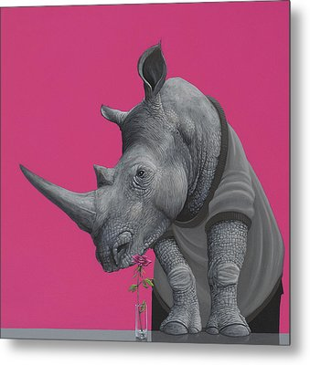 Rhino Metal Print by Jasper Oostland