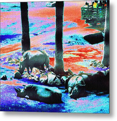 Rhinos Having A Picnic Metal Print by Abstract Angel Artist Stephen K