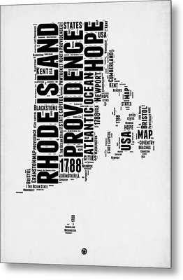 Rhode Island Word Cloud 1 Metal Print by Naxart Studio