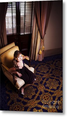 Rich Wealthy Woman Sitting In Upmarket Hotel  Metal Print by Jorgo Photography - Wall Art Gallery