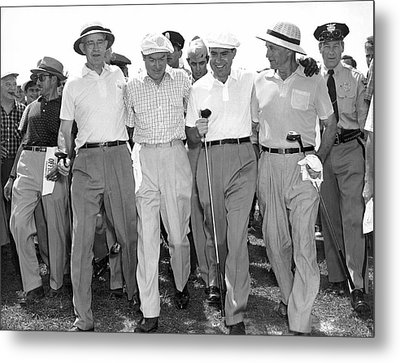 Richard Nixon Playing Golf Metal Print by Underwood Archives