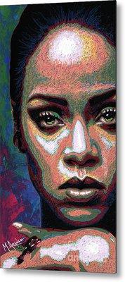 Rihanna Metal Print by Maria Arango