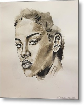 Rihanna  Metal Print by Megan Lawless
