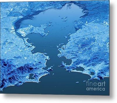 Rio De Janeiro Topographic Map 3d Landscape View Blue Color Metal Print by Frank Ramspott