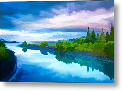 River And A Beautiful Landscape Metal Print by Lanjee Chee