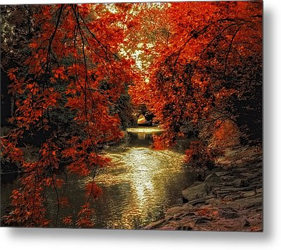 Riverbank Red Metal Print by Jessica Jenney