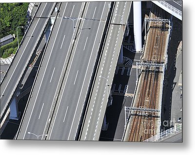 Road And Rail Intersection Metal Print by Andy Smy