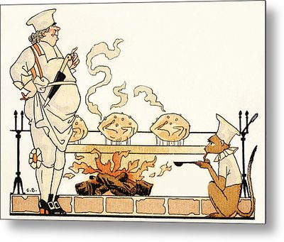 Roasting On A Spit Metal Print by Georges Barbier