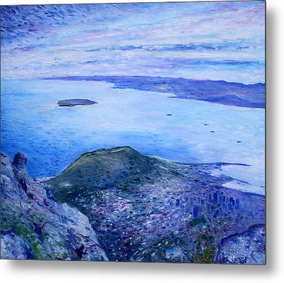 Robben Island From Table Mountain Cape Town South Africa Dawn 2000  Metal Print by Enver Larney