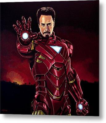 Robert Downey Jr. As Iron Man  Metal Print by Paul Meijering