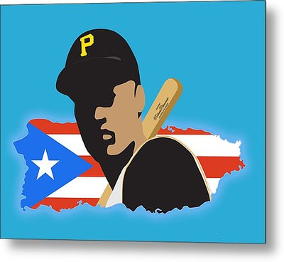 Roberto Clemente T-shirt Graphics Metal Print by Ron Regalado