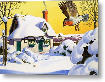 Robin Flying In The Snow Metal Print by English School