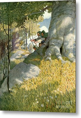 Robin Hood And His Companions Rescue Will Stutely Metal Print by Newell Convers Wyeth