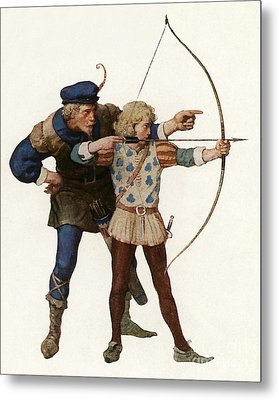 Robin Hood Trains A Young Archer Metal Print by Newell Convers Wyeth
