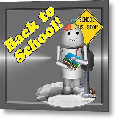 Robo-x9 Back To School Metal Print by Gravityx9 Designs