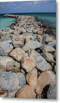 Rock Jetty Of The Caribbean Metal Print by David Letts