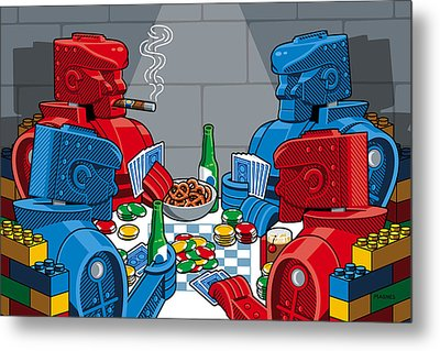 Rockem Sockem Poker Night Metal Print by Ron Magnes