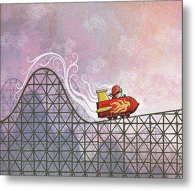 Rocket Me Rollercoaster Metal Print by Dennis Wunsch