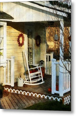 Rocking Chair On Side Porch Metal Print by Susan Savad