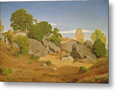 Rocks At Fontainebleau Metal Print by Theodore Caruelle d'Aligny