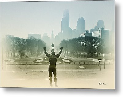 Rocky At The Top Of The Steps Metal Print by Bill Cannon