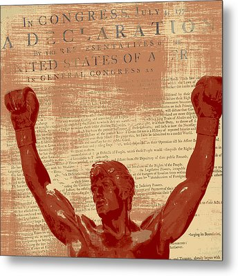 Rocky Statue Declaration Of Independence Metal Print by Brandi Fitzgerald