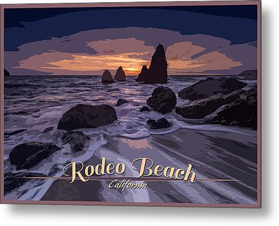 Rodeo Beach Vintage Tourism Poster Metal Print by Rick Berk
