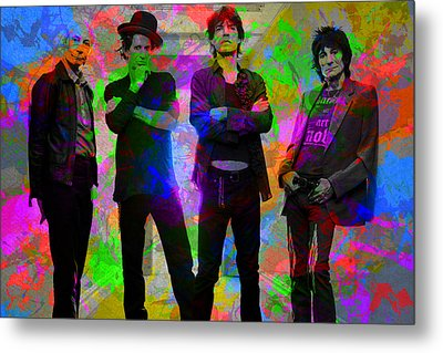Rolling Stones Band Portrait Paint Splatters Pop Art Metal Print by Design Turnpike