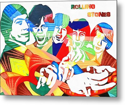 Rolling Stones Colorful Abstract Metal Print by Dan Sproul