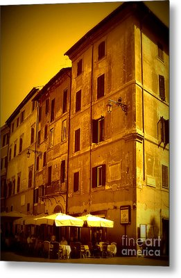 Roman Cafe With Golden Sepia 2 Metal Print by Carol Groenen