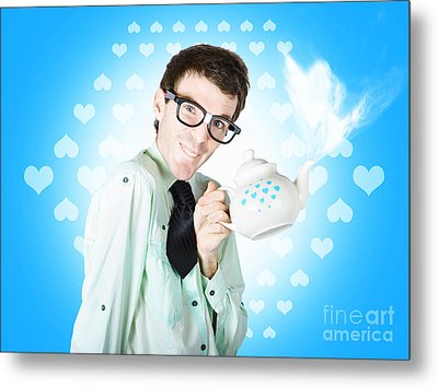 Romantic Male Dork Offering Coffee Love To Date Metal Print by Jorgo Photography - Wall Art Gallery