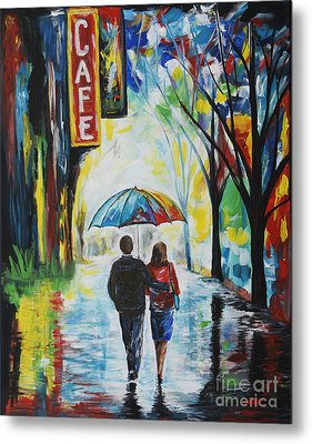 Romantic Night Out Metal Print by Leslie Allen