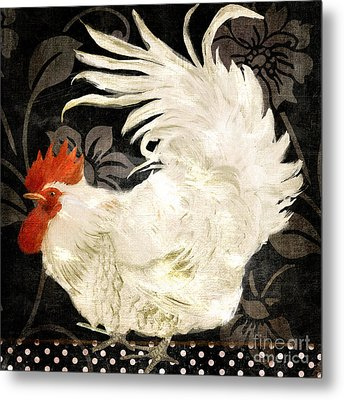 Rooster Damask Dark Metal Print by Mindy Sommers