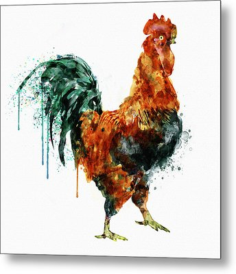 Rooster Watercolor Painting Metal Print by Marian Voicu